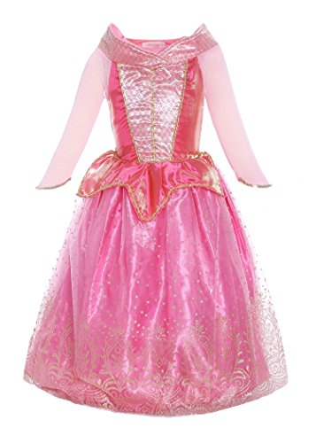 Kleid Kostüm Rosa Cinderella - ReliBeauty Mädchen Prinzessin Aurora Kleid Kostüm, Pink, 90-100(Etikett 100)