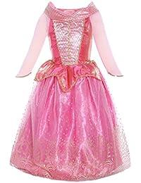 ReliBeauty – Fille–Robe d'Aurore pour enfant–Costume de Conte de fée–déguisement de La Belle au Bois Dormant–Robe en Tulle avec paillette et ornement dorés–Tenue cosplay Halloween