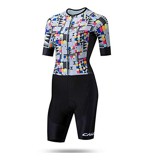 TZTED Triathlon Einteiler Frauen Tri Suit Triathlonanzug Sommer Reitanzug Fahrradbekleidung Damen Skatinganzug,XXL