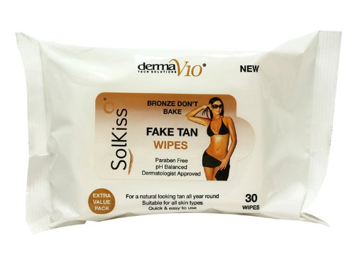 Fake Tan Wipes Derma V10 (30 Pack) Extra Value Pack by Derma V10