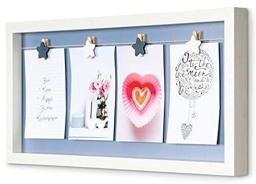 levandeo Bilderrahmen 4 Fotos Klammern Stern Ahorn Optik Weiß Holz Fotorahmen Fotogalerie Fotocollage Fotoleine Collage