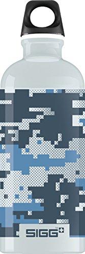 Sigg Jungen Trinkflasche Camouflage, Grau/Blau, 600 ml, 8486.5 (Aluminium Schweizer-wasser-flasche)