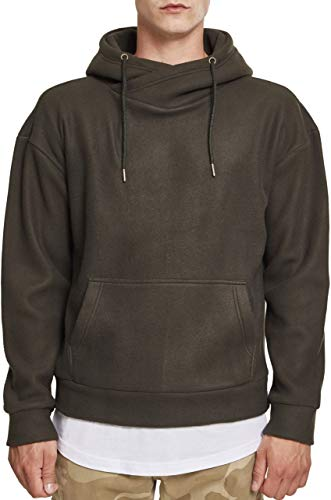 Urban Classics Herren Polar Fleece High Neck Hoodie Kapuzenpullover, Grün (Olive 00176), 3XL -