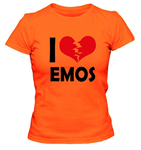 I Don't Love Emos Fun Damen T-Shirt, Größe:XL;Farbe:orange