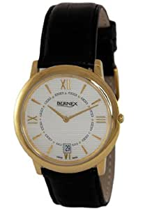 GB11126 - Bernex Gents Gold Plated Wrist Watch, Quartz, Textured Cream Roman Dial, With Date