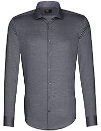 SEIDENSTICKER Herren Hemd Slim 1/1-Arm Bügelfrei Uni / Uniähnlich City-Hemd Hai-Kragen Manschette weitenverstellbar