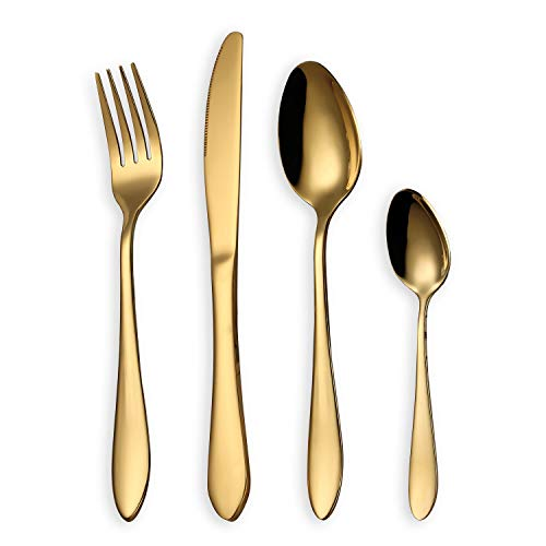 HOMQUEN Cutlery Set, Gold Flatware Set, Stainless Steel Set Service for 6 Person, 24 Pieces Dining Cutlery