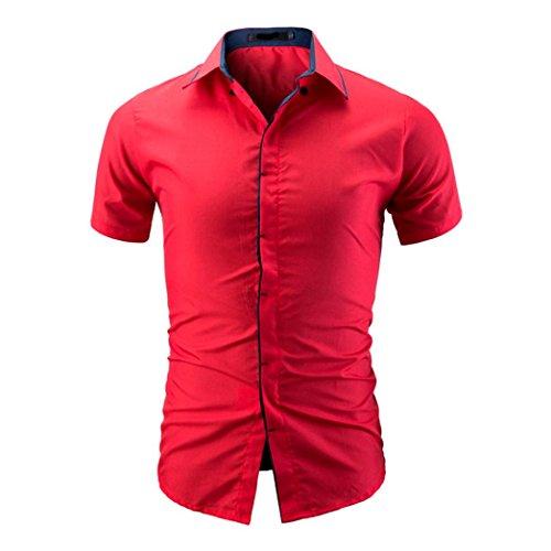VEMOW Sommer Männer Shirt Fashion Daily Business Arbeit Tägliche Freien Einfarbig Männlichen Casual Kurzarm Shirt T Shirts Pullover Pulli Tees(Rot, EU-54/CN-2XL)