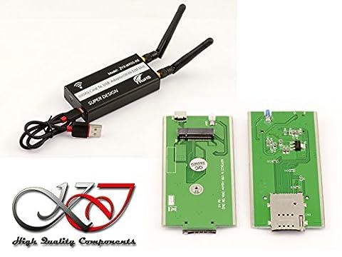 KALEA-INFORMATIQUE © - Adaptateur USB pour carte M.2 WWAN LTE (M2 Socket 2 SSIC-Base WWAN) - Avec support carte SIM Compatible 3G