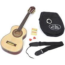 ts-ideen 4532 - Guitarra acústica infantil (1/4, para niños de 4 a 7 años, incluye set de accesorios: funda acolchada, correa, cuerdas, silbato afinador y púas)