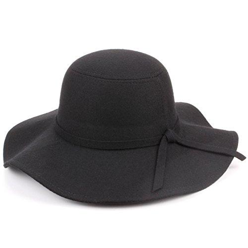 Hawkins lana feltro largo con falda Cappello floscio - Nero, One Size