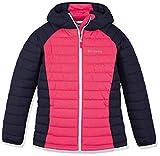 Columbia Sportswear Mädchen Powder Lite Hooded Insulated Jacket, Rosa, Blau (Cactus Pink, Nocturnal), S