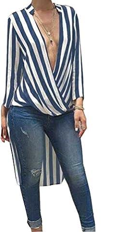SunIfSnow - Haut de pyjama spécial grossesse - Asymétrique - À Rayures - Manches Longues - Femme - bleu - L