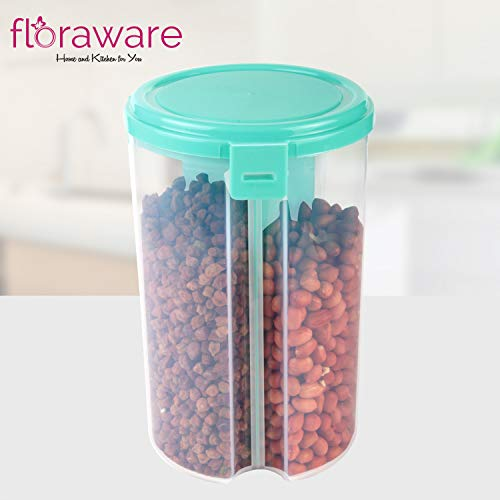 Floraware Plastic Storage Container for Kitchen 3 Sections Air Tight Transparent Food, Grain, Cereal Dispenser Storage Container Jar, Storage containers, Masala Boxes, Pack of 1(Pista Green)
