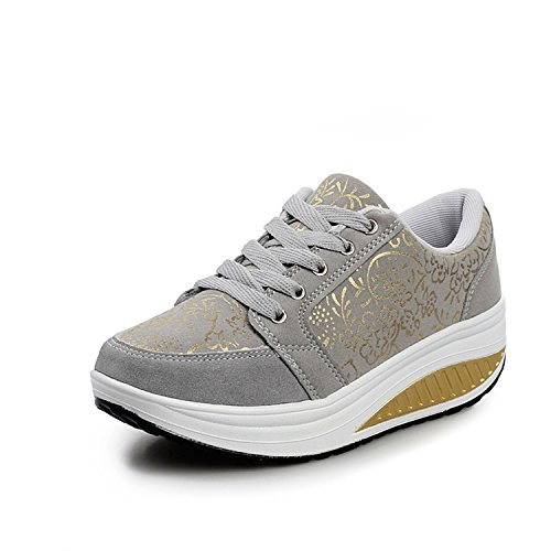 QZBAOSHU Mode Sneaker für Mädchen Frauen Fitness Laufen Sportschuhe Keil Bitte Kaufen Groß eins Größe Schuhe (41 (passen für EU40), Grau)