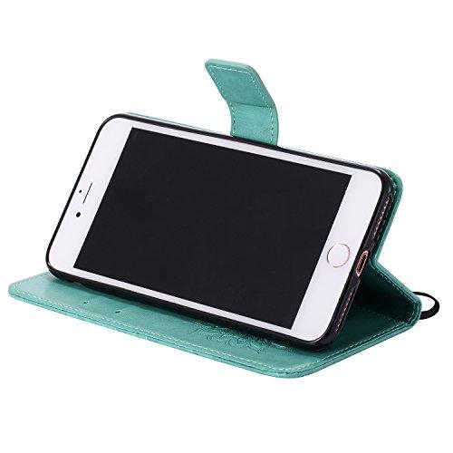 Custodia iPhone 7 Plus, iPhone 7 Plus Cover, ikasus® iPhone 7 Plus Girasole di Emboss Custodia Cover [PU Leather] [Shock-Absorption] Protettiva Cover Custodia in pelle verniciata Modello con Super Sot verde