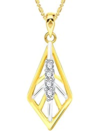 VK Jewels Shapely Gold And Rhodium Plated Alloy CZ American Diamond Pendant With Chain For Women [VKP2591G]