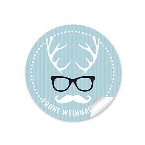 24 Weihnachtsaufkleber FROHE WEIHNACHTEN HIPSTER HIRSCH BRILLE BLAU Weihnachten • Papieraufkleber Sticker Aufkleber Etiketten • Format 4 cm rund matt