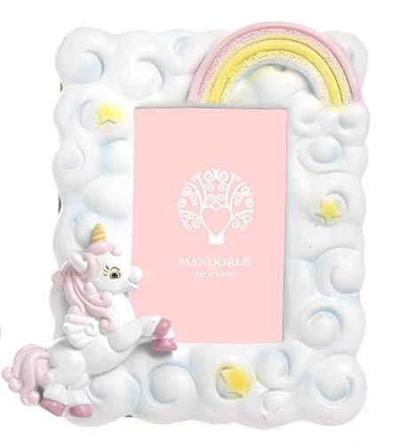 Mandorle by paben 6 pezzi portafoto unicorno rosa bomboniera battesimo comunione cresima compleanno in resina cm.11,5 x 10,4