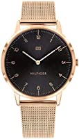 Tommy Hilfiger 1791586 Mens Quartz Watch, Analog Display and Stainless Steel Strap, Black