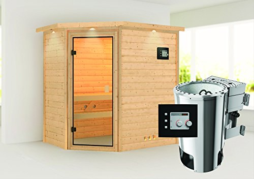 Cilja – Karibu Sauna Plug & Play inkl. 3,6 kW-Bioofen – mit Dachkranz –