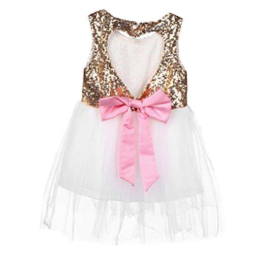 Bekleidung Longra Kinder Pailletten Baby Mädchen Pailletten Kleid Bogen Rückenfreies Party Kleid Brautjungfer Prinzessin Kleider (3-7Jahre) (90CM 3Jahre, (Kostüm City Blume Party Baby)