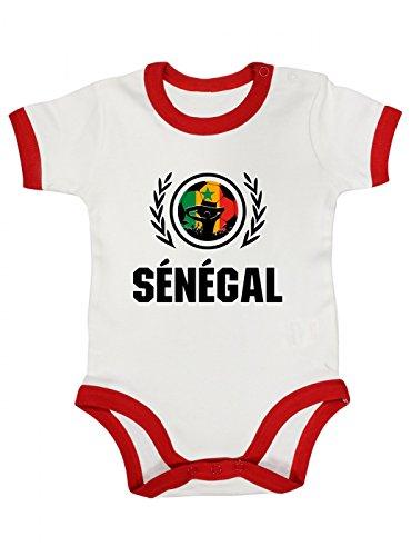 Shirt Happenz Senegal Weltmeisterschaft 2018#2 Premium Ringer Babybody Fan Trikot Fußball WM Nationalmannschaft Kurzarmbody, Farbe:Weiß Rot (White Red BZ19);Größe:3-6 Monate 2 Ringer