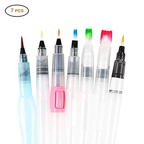 Wasserpinsel Stifte, Aquarell Stift Pinsel Water Brush Pens WASSER-Stift Mobile Wasserfarben Aquarellfarben Wassertank Pinsel, Aquarellmalerei Kalligraphie mit Befüllbarer Wassertank (7 Größe)
