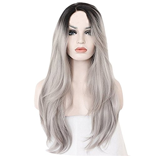 Lace Front Perücken für Damen - Glueless Long Natural Straight Siver Gray Synthetic Perücke Full Perücke (1 pc, Grau) ()