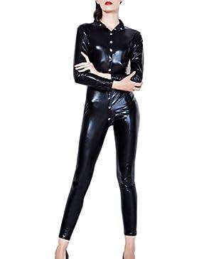 Mujeres Manga Larga Botón Nightclub Cuello V Apretado Mono Clubwear Jumpsuit