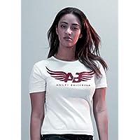 Angry Ballerina Cotton Crew Neck Logo Tee For Women