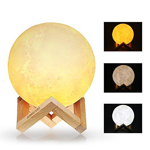 Lámpara de Luna 3D, AIMIUVEI Luz Nocturna Luna LED Lampara Luna Grande 15 cm Conexión Usb con 3 Colores e Intensidad a Elegir Luz de Noche Ambiente Lámparas para Niños Bebé Dormitorio Café Bar Regalo de Fiesta Decoración