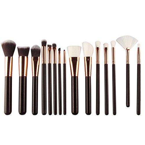 15pcs pinceaux de maquillage professionnel mis en poudre base Contour mélange fard à paupières Blush Kit de pinceau synthétique Kabuki (noir et or rose)