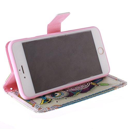 KATUMO Etui Flip Cover Case iPhone 6/6s(4.7 pouces),Coques Cuir iPhone6s Apple Housse Protection Etui Rabat Apple 6s iPhone Coque-#1Fleur Bleu #1Chouette