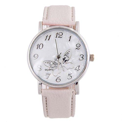 Vovotrade mujer grabado banda de mariposa de cuero banda de cuarzo reloj de pulsera de San Valentín regalo del día de la madre (Blanco)