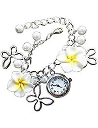 Girlz! Yellow Metal Flower Bracelet With Watch For Women