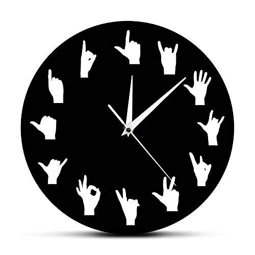 nuanyang Wanduhr Hand Gebärdensprache Wandkunst Handgesten Variation Wanddekor Wanduhr Hände Minimalistisches Design Wohnzimmer Moderne Wanduhr Schwarz Für Jeden Raum In Wohnküche Büro (Sie In Gebärdensprache)