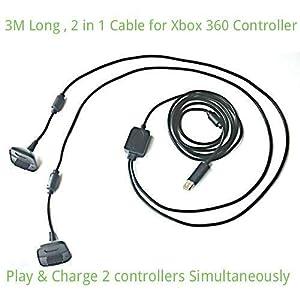 Airbot Spiel 2 in 1 USB und Ladekabel für Xbox 360 Controller Pad Gamepad Joypad Joystick 3M Lang