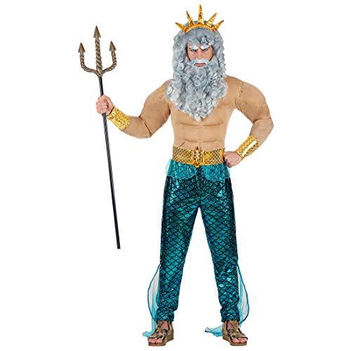 Amakando Meeresgott-Kostüm Neptun für Männer / Größe M (50) / Poseidon Outfit Gott des Meeres / Genau richtig zu Karneval & Strandparty