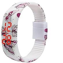 HARRYSTORE Ultra delgado hombres niña deportes silicona digital LED pulsera muñeca patrón de mariposa reloj (blanco)