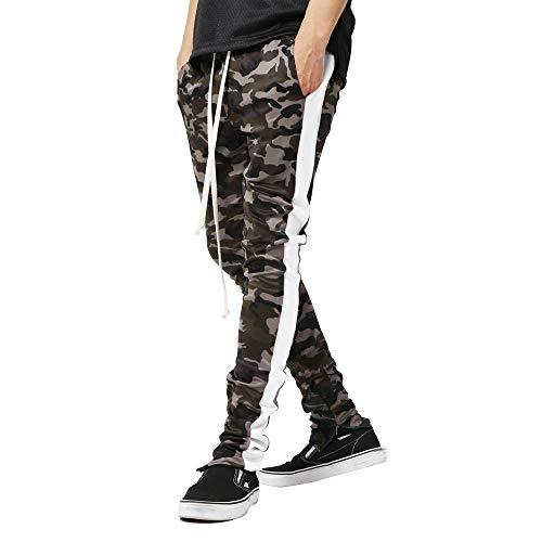 Yvelands Herren Männer, die Camouflage Overalls beiläufige Taschen-Sportarbeit-beiläufige Hosen-Hosen verbinden (3XL,Weiß)