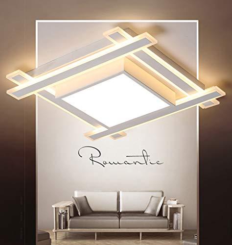 AISHUAIGE LED Deckenleuchte Ø45cm 44W Square 5-flammig MinimalistischeDeckenlampe Warm Romantisch Schlafzimmer Lampe Kreative Wohnzimmer Leuchte Eisen Acryl Schatten Büro Küche Beleuchtung, Weiß (Square-eisen-wand-dekor)