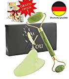 beYou Premium Jade Roller mit Gua Sha Set - in hochwertiger Geschenkbox - inkl. Premium Tasche -...