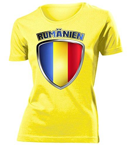 Rumänien Romania Fan t Shirt Artikel 3329 Fuss Ball World Cup Jersey EM 2020 WM 2022 Trikot Look Flagge Fahne Team Frauen Damen Mädchen XXL