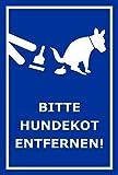 Schild – Hier ist kein Hundeklo – Bitte Hundekot entfernen – 15x10cm, 30x20cm und 45x30cm – Bohrlöcher Aufkleber Hartschaum Aluverbund -S00187-029-F