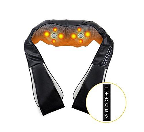 Winsale 4D Massagegerät mit Wärmefunktion für Schulter Nacken Rücken Nackenmassagegerät Shiatsu Elektrisch Massager mit 3 Einstellbaren Geschwindigkeiten Muskel Schmerzlinderung zu Hause Büro und Auto