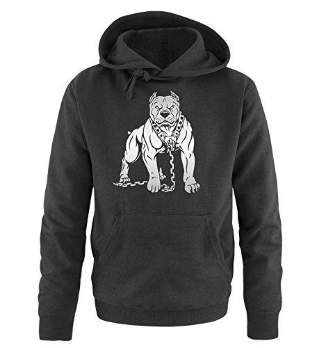 Comedy Shirts - Pitbull - Herren Hoodie - Schwarz/Silber Gr. M