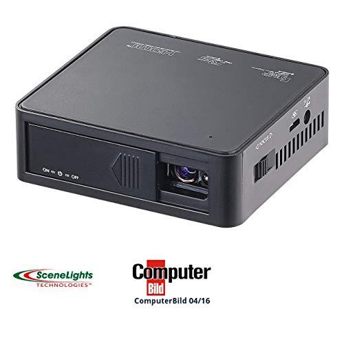 SceneLights DLP LED Mini Beamer: LED-DLP-Beamer LB-8500.Mini, Akku, Mediaplayer, 800 Lumen (Taschenprojektor)