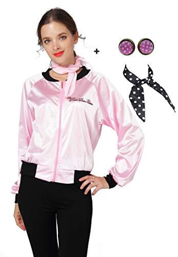 50S Pink Jacke Halloween Damen Kostüm mit Schal Ohrring - Pink - Klein