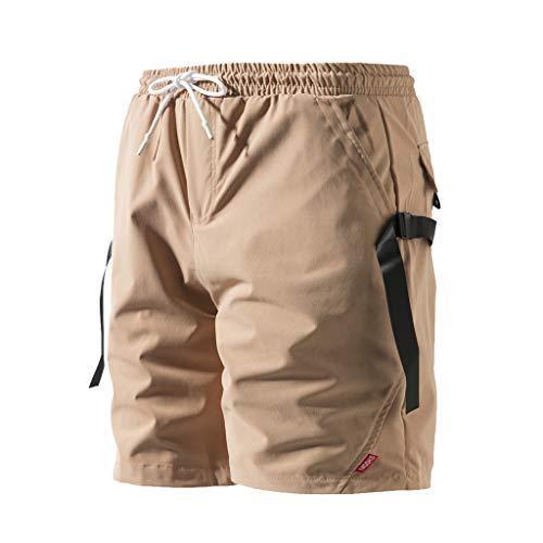 Xmiral Shorts Hose Herren Elastische Taille Mit Kordelzug Cargohose Einfarbig Strassenmode Badehose Strandhosen Sporthose Lässig Große Größe(A Khaki,XXL) -
